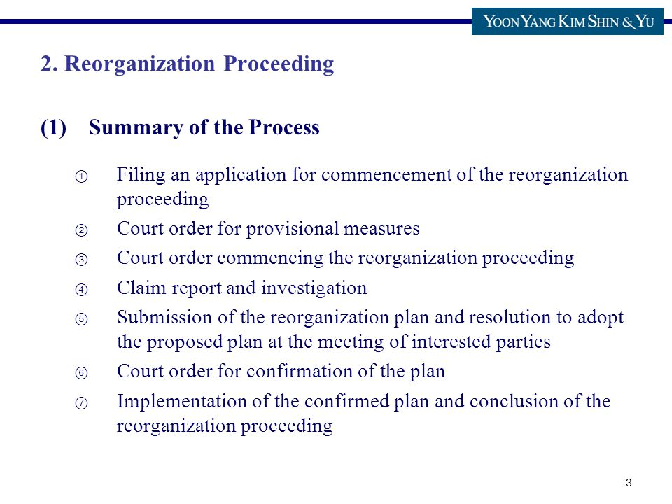 3 2. Reorganization Proceeding (1)Summary of the Process ① Filing an application for commencement of the reorganization proceeding ② Court order for p