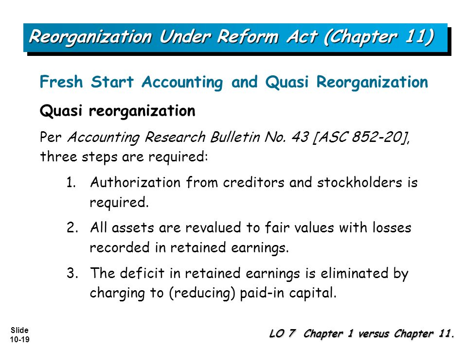 Slide 10-19 Reorganization Under Reform Act (Chapter 11) LO 7 Chapter 1 versus Chapter 11.