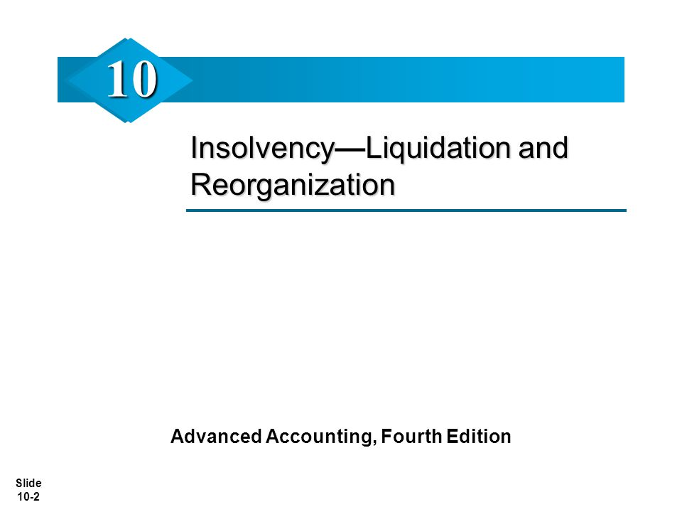 Slide 10-2 InsolvencyLiquidation and Reorganization Insolvency—Liquidation and Reorganization Advanced Accounting, Fourth Edition 1010
