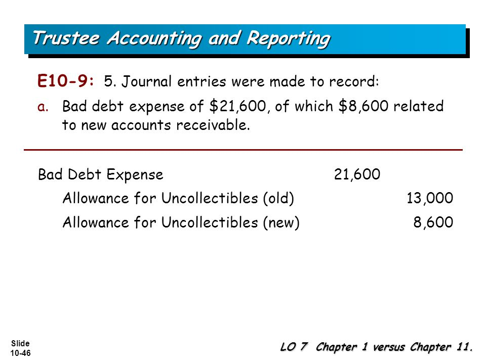 Slide 10-46 E10-9: 5. Journal entries were made to record: a.Bad debt expense of $21,600, of which $8,600 related to new accounts receivable. Trustee