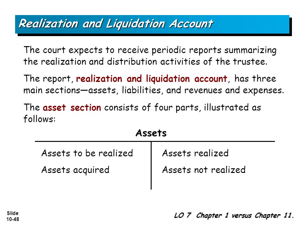 Slide 10-48 The court expects to receive periodic reports summarizing the realization and distribution activities of the trustee.