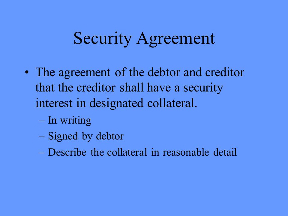 Types of Secured Transactions Secured Credit Sale : Sales transaction in which creditor is seller and takes a purchase money security interest in item sold.