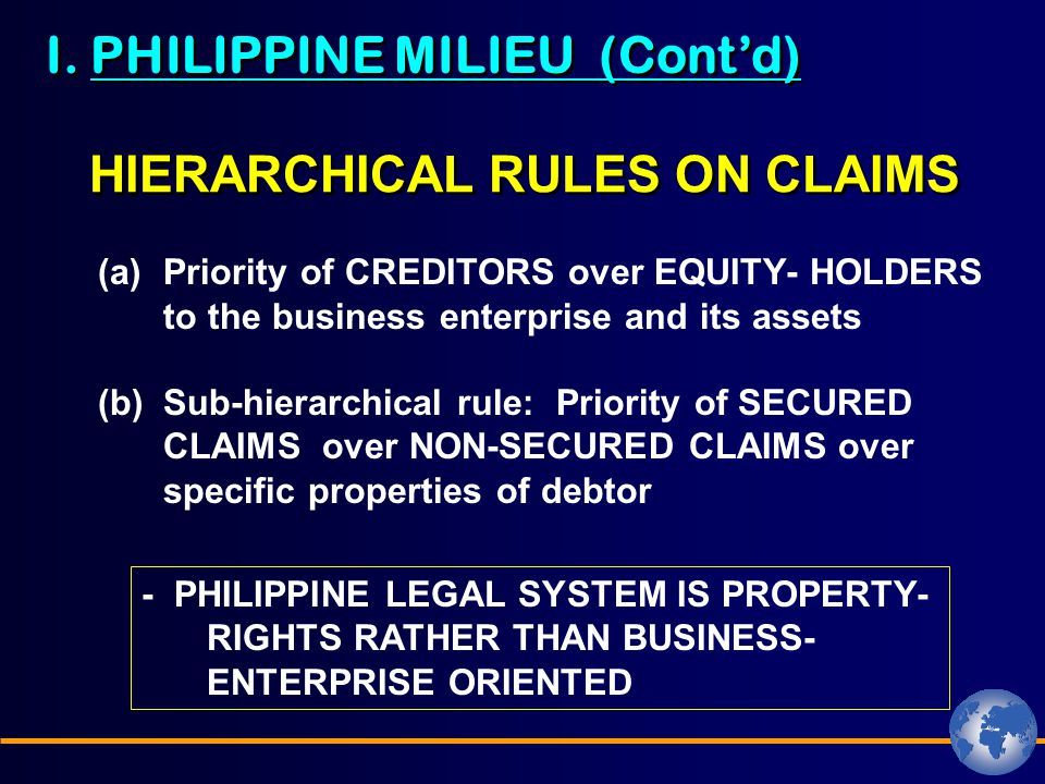 I. PHILIPPINE MILIEU (Cont'd) HIERARCHICAL RULES ON CLAIMS (a)Priority of CREDITORS over EQUITY- HOLDERS to the business enterprise and its assets (b)