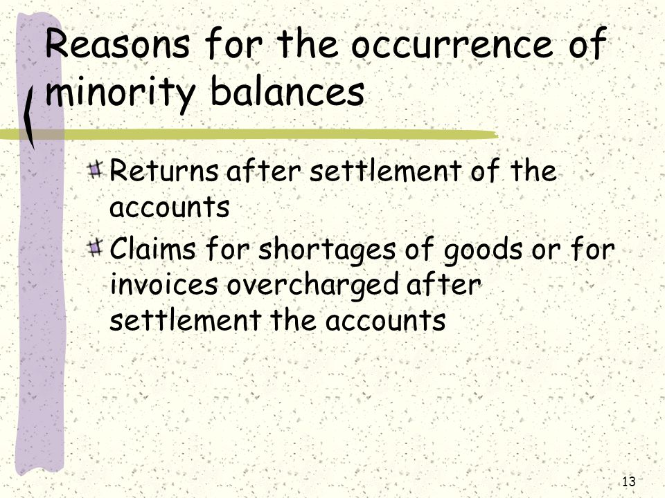 13 Reasons for the occurrence of minority balances Returns after settlement of the accounts Claims for shortages of goods or for invoices overcharged