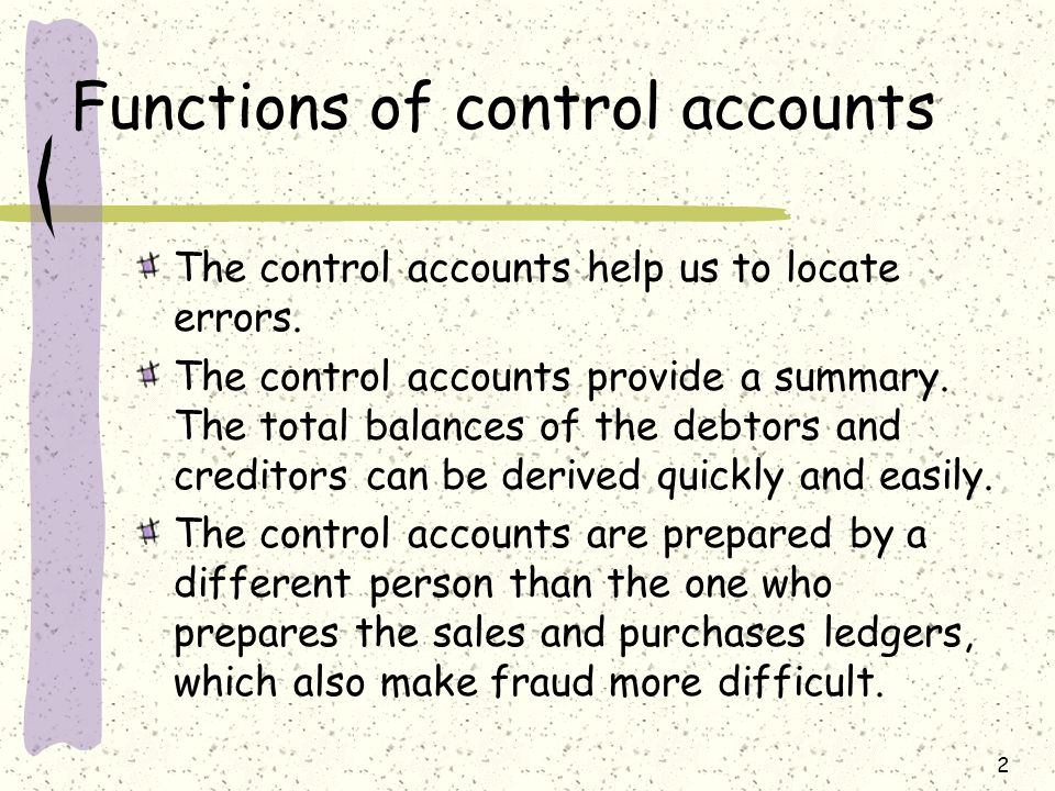 23 Original documents Sales/Purchases Journals General ledger Sales and purchases a/c Sales/purchases ledgers Debtors/Creditors Trial Balance Double-entry system For memorandum purpose Sales Ledger control a/c Purchases ledger control a/c Sectional Balancing System Note: posting extracting
