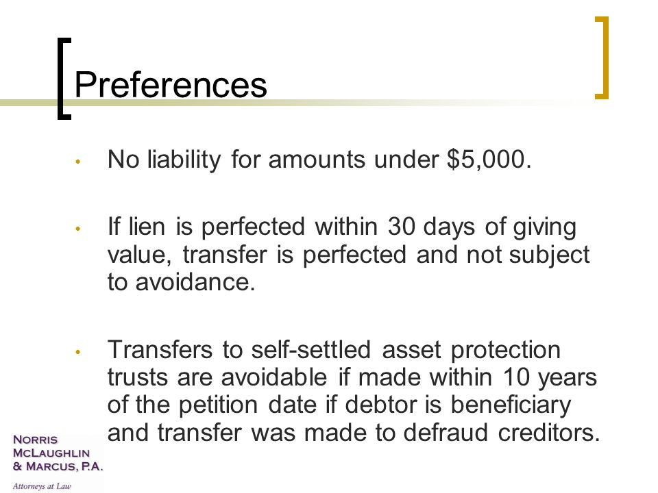 Preferences No liability for amounts under $5,000.