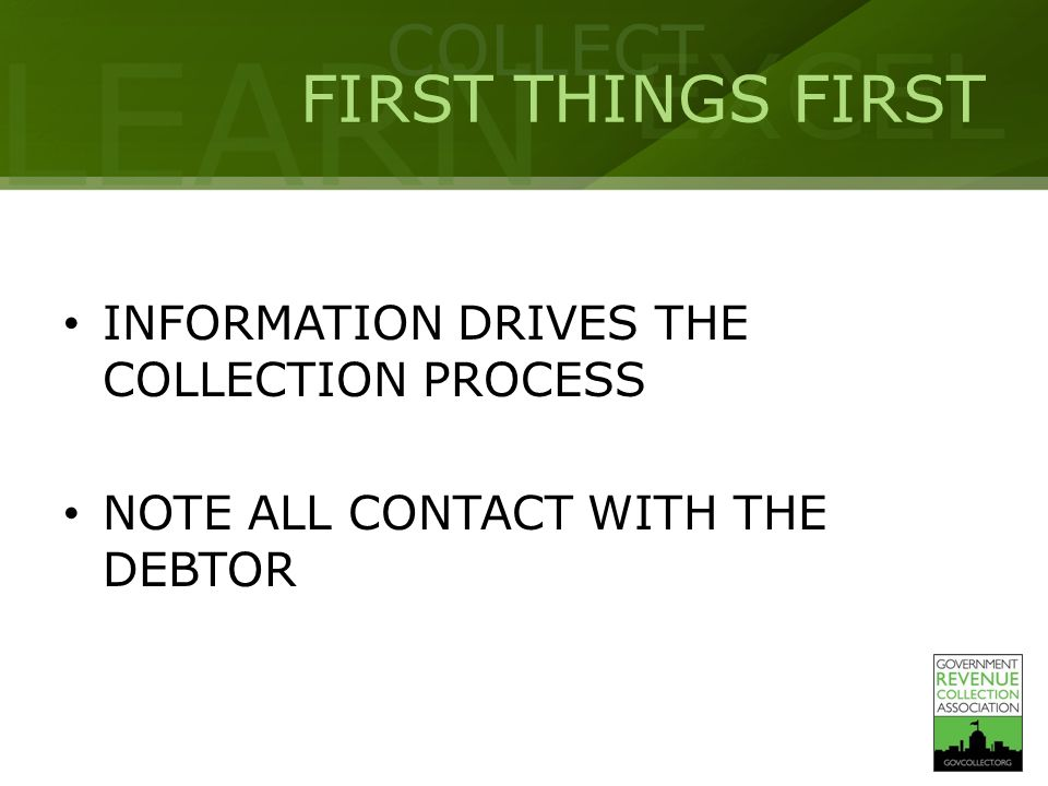 LEARN COLLECT EXCEL WHY CONTACT THE DEBTOR FOR COLLECTION OF TAXES.