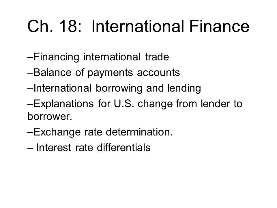 Financing International Trade Balance of Payments Accounts –Records international trading, borrowing and lending.