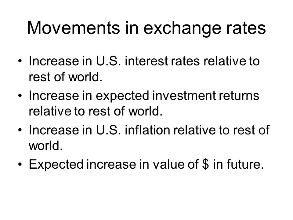 Movements in exchange rates Increase in U.S. interest rates relative to rest of world. Increase in expected investment returns relative to rest of wor