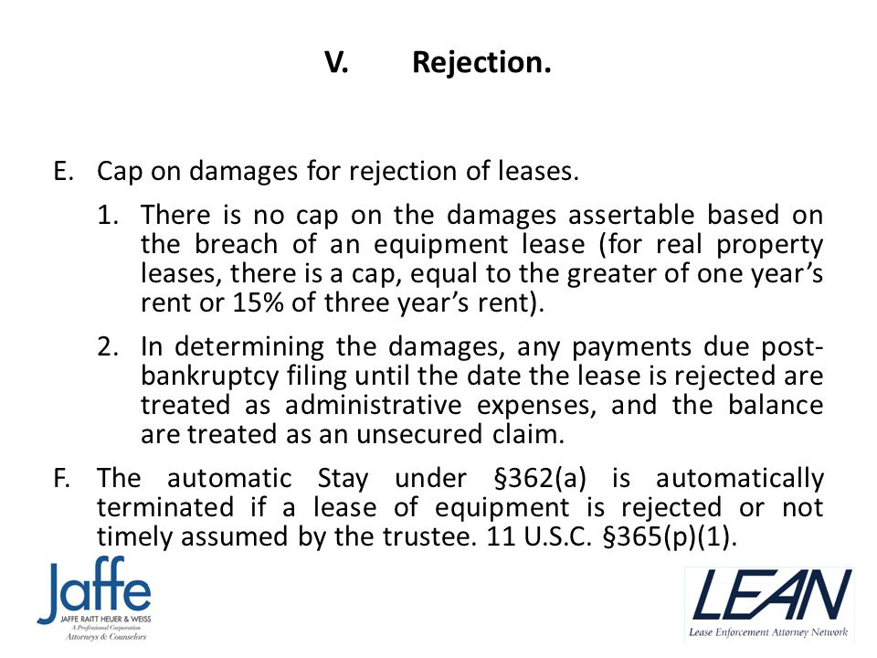 V.Rejection. E.Cap on damages for rejection of leases.