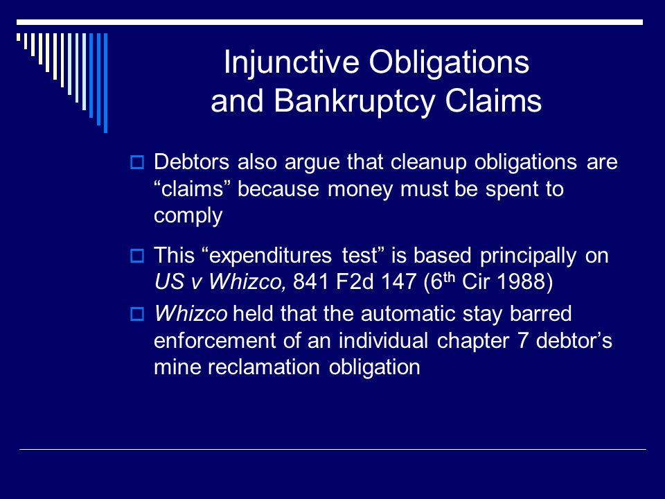 """Injunctive Obligations and Bankruptcy Claims  Debtors also argue that cleanup obligations are """"claims"""" because money must be spent to comply  This """""""