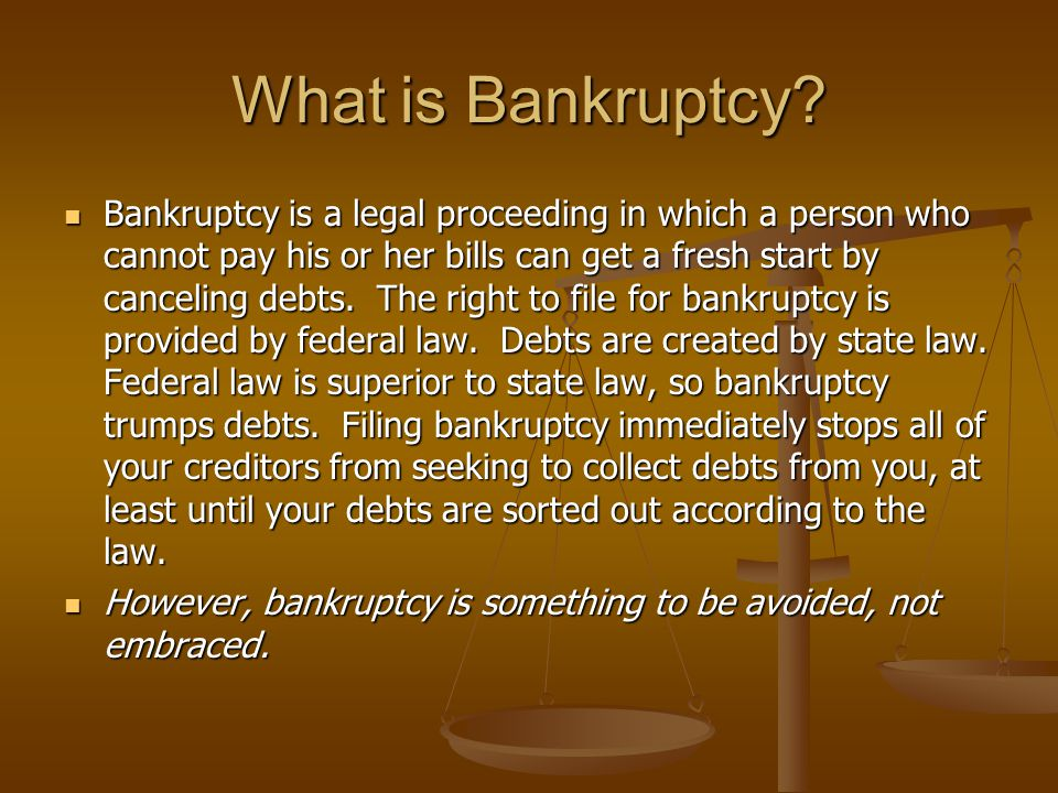 What does bankruptcy do.