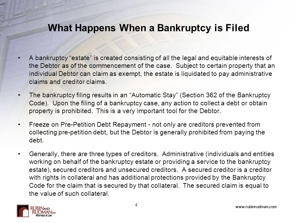 www.rubinrudman.com What Happens When a Bankruptcy is Filed A bankruptcy estate is created consisting of all the legal and equitable interests of the Debtor as of the commencement of the case.