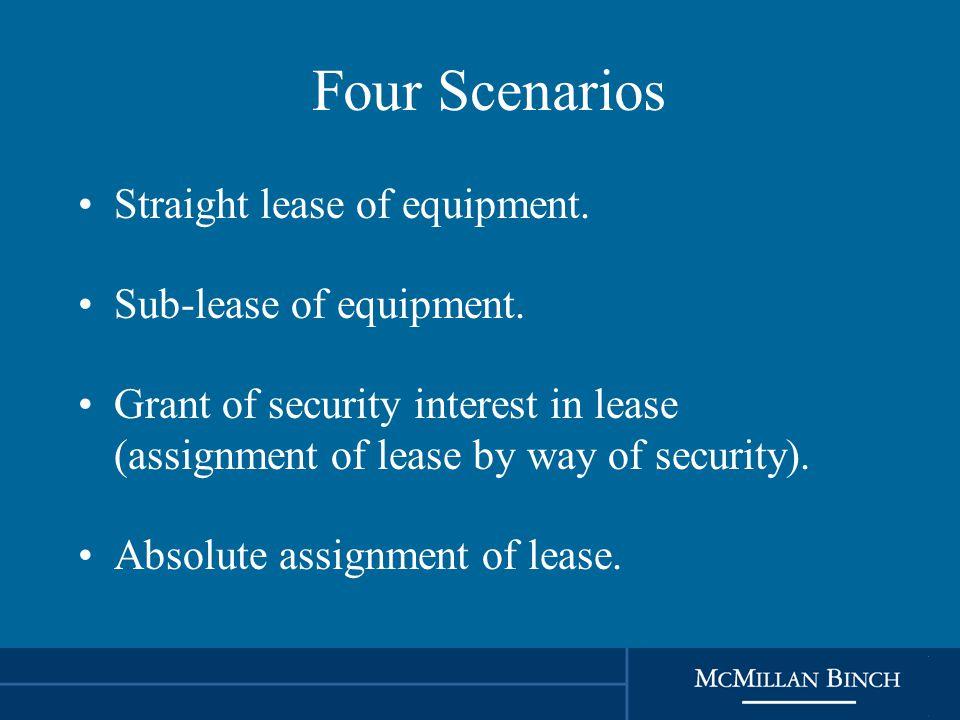 Four Scenarios Straight lease of equipment. Sub-lease of equipment.