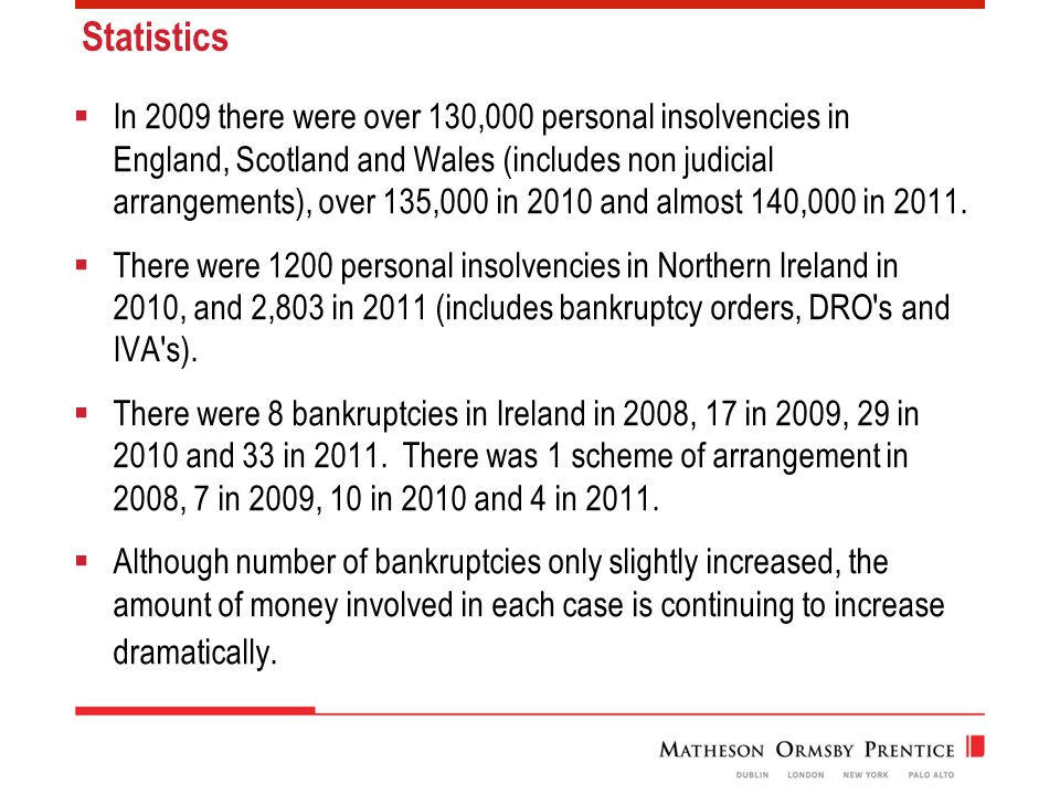 Statistics  In 2009 there were over 130,000 personal insolvencies in England, Scotland and Wales (includes non judicial arrangements), over 135,000 in 2010 and almost 140,000 in 2011.