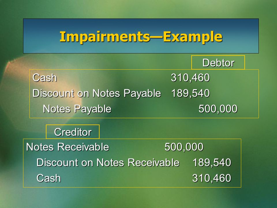 Impairments—Example Cash310,460 Discount on Notes Payable189,540 Notes Payable500,000 Debtor Creditor Notes Receivable500,000 Discount on Notes Receivable189,540 Cash310,460