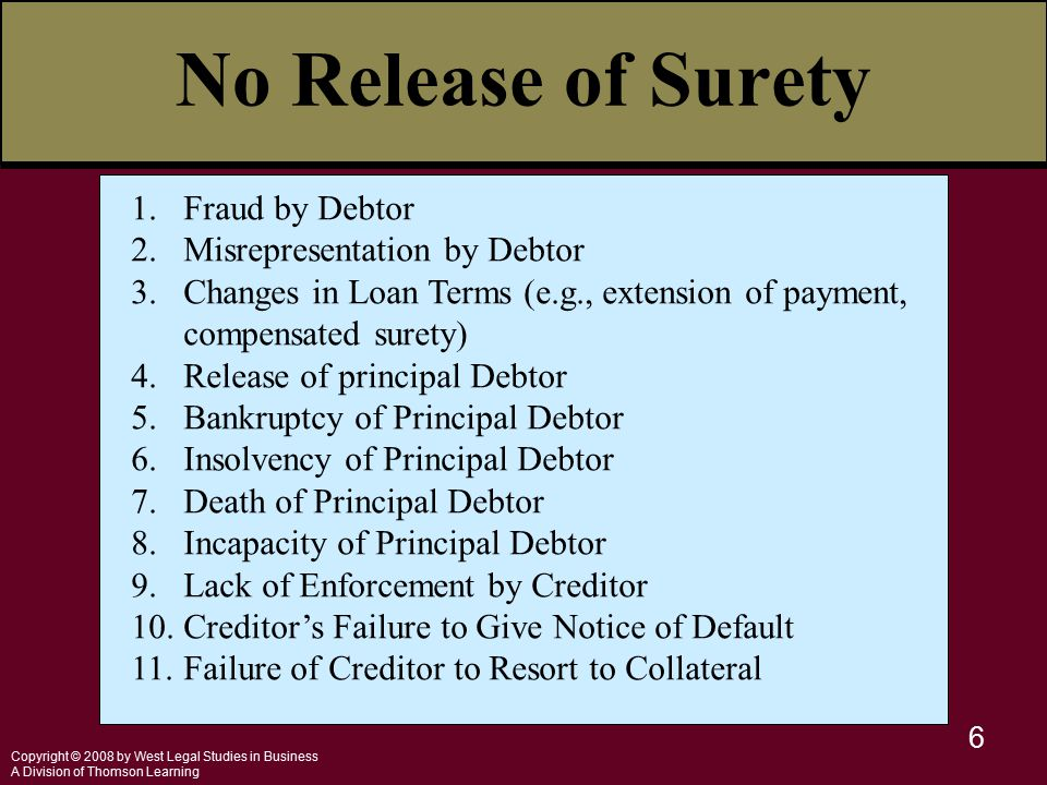 Copyright © 2008 by West Legal Studies in Business A Division of Thomson Learning 6 1.Fraud by Debtor 2.Misrepresentation by Debtor 3.Changes in Loan Terms (e.g., extension of payment, compensated surety) 4.Release of principal Debtor 5.Bankruptcy of Principal Debtor 6.Insolvency of Principal Debtor 7.Death of Principal Debtor 8.Incapacity of Principal Debtor 9.Lack of Enforcement by Creditor 10.Creditor's Failure to Give Notice of Default 11.Failure of Creditor to Resort to Collateral No Release of Surety