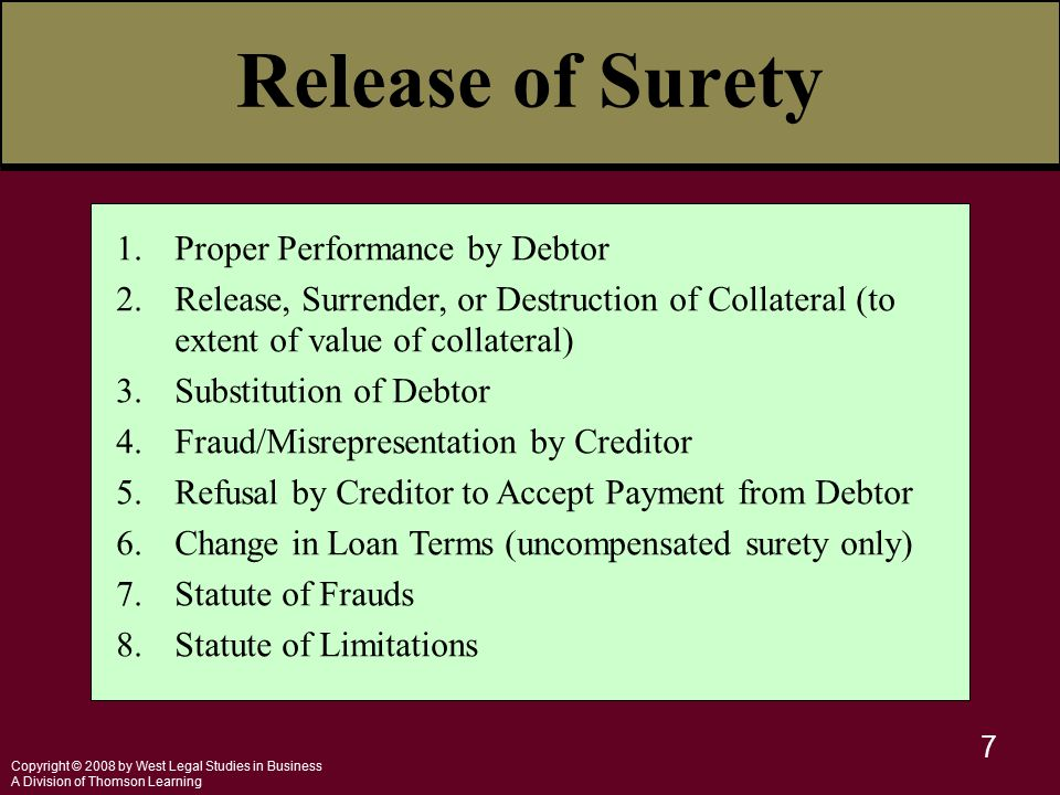 Copyright © 2008 by West Legal Studies in Business A Division of Thomson Learning 7 Release of Surety 1.Proper Performance by Debtor 2.Release, Surren
