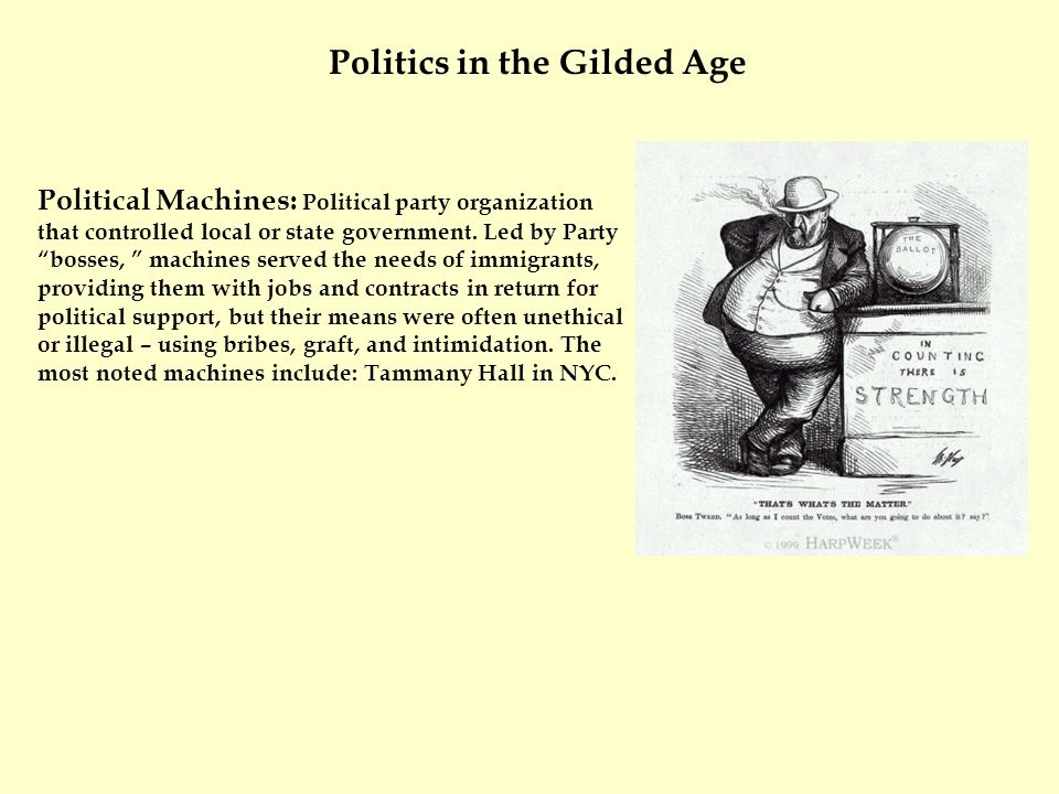 Political Machines: Political party organization that controlled local or state government.