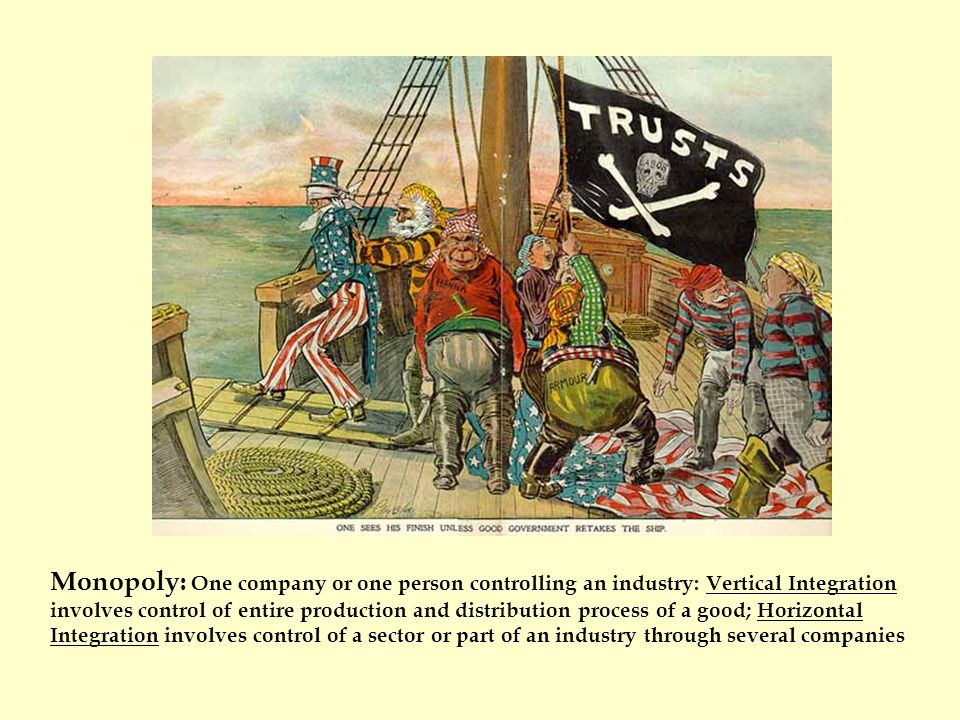 Monopoly: One company or one person controlling an industry: Vertical Integration involves control of entire production and distribution process of a good; Horizontal Integration involves control of a sector or part of an industry through several companies