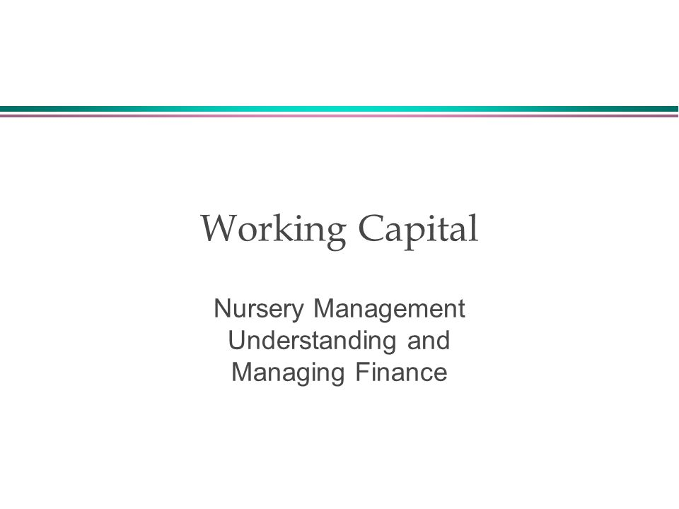 Working Capital Nursery Management Understanding and Managing Finance