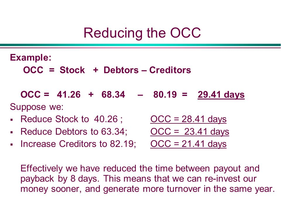 Reducing the OCC Example: OCC = Stock + Debtors – Creditors OCC = 41.26 + 68.34 – 80.19 = 29.41 days Suppose we:  Reduce Stock to 40.26 ; OCC = 28.41 days  Reduce Debtors to 63.34; OCC = 23.41 days  Increase Creditors to 82.19; OCC = 21.41 days Effectively we have reduced the time between payout and payback by 8 days.