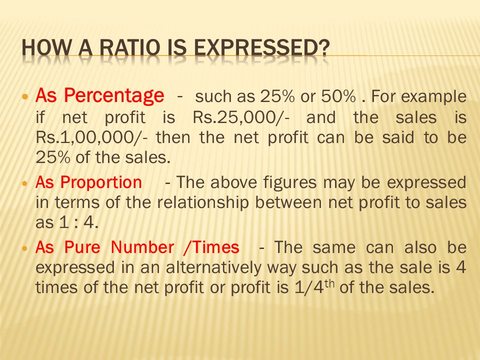 Exercise 5.: Profit to sales is 2% and amount of profit is say Rs.5 Lac.