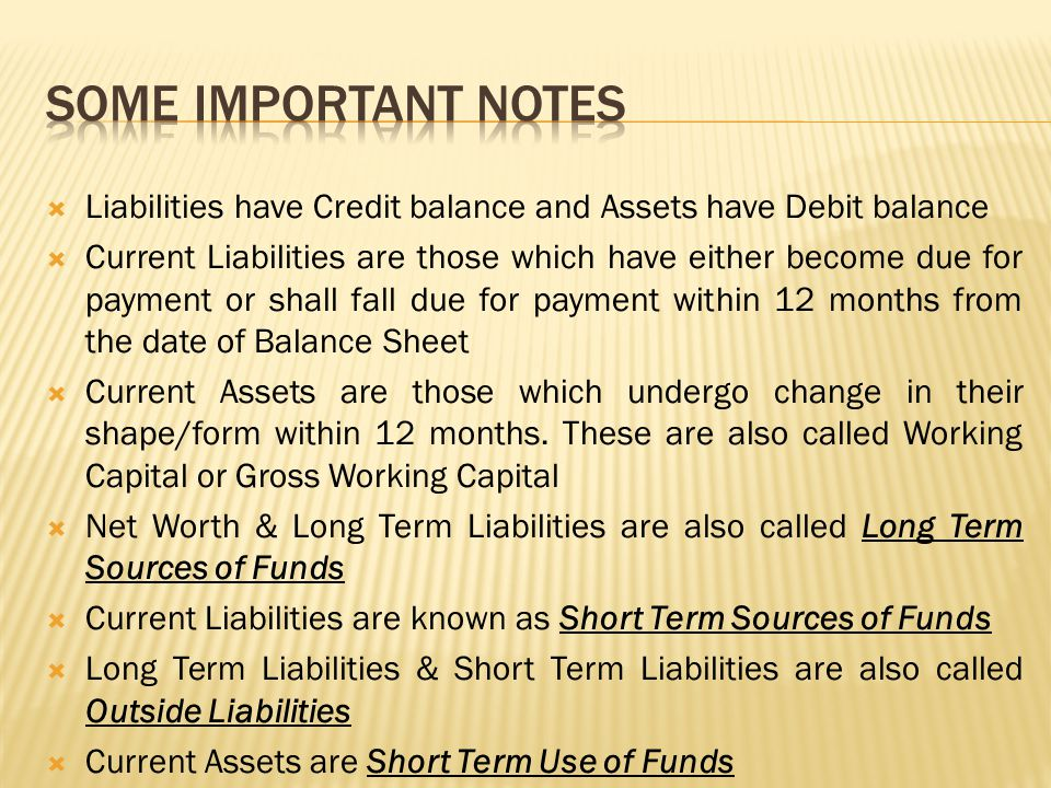  Assets other than Current Assets are Long Term Use of Funds  Installments of Term Loan Payable in 12 months are to be taken as Current Liability only for Calculation of Current Ratio & Quick Ratio.