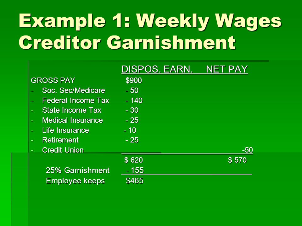 Example 1: Weekly Wages Creditor Garnishment DISPOS. EARN. NET PAY GROSS PAY $900 -Soc. Sec/Medicare - 50 -Federal Income Tax - 140 -State Income Tax