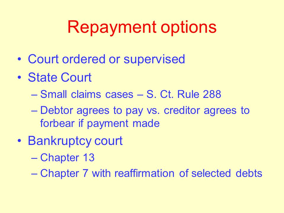 Repayment options Voluntary agreements – to repay one creditor Creditor may be required to allow repayment over time US Dept of Education regulations
