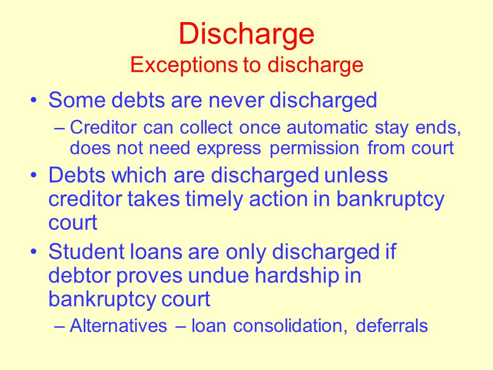 Discharge Fresh start Utility service –Cannot be denied because of dischargeable debt –Must pay deposit but not old bill –If stolen service, Chapter 1