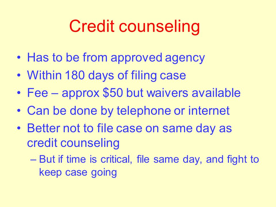 "How to file Forms require full financial disclosure Credit counseling before filing case. ""Emergency"" filing can be done to beat deadline –minimal doc"