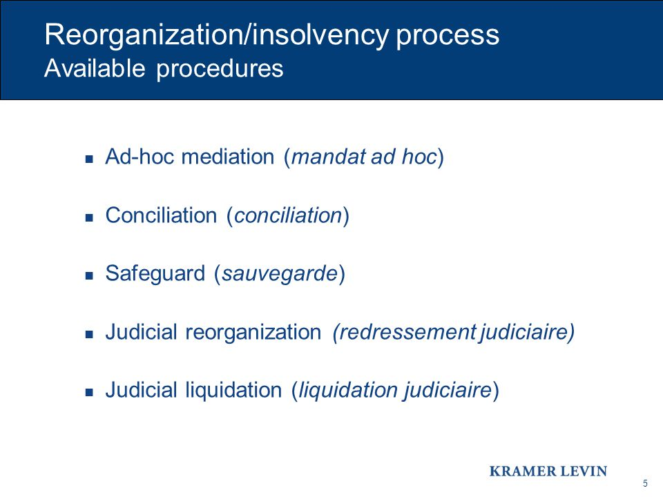 5 Reorganization/insolvency process Available procedures Ad-hoc mediation (mandat ad hoc) Conciliation (conciliation) Safeguard (sauvegarde) Judicial reorganization (redressement judiciaire) Judicial liquidation (liquidation judiciaire)