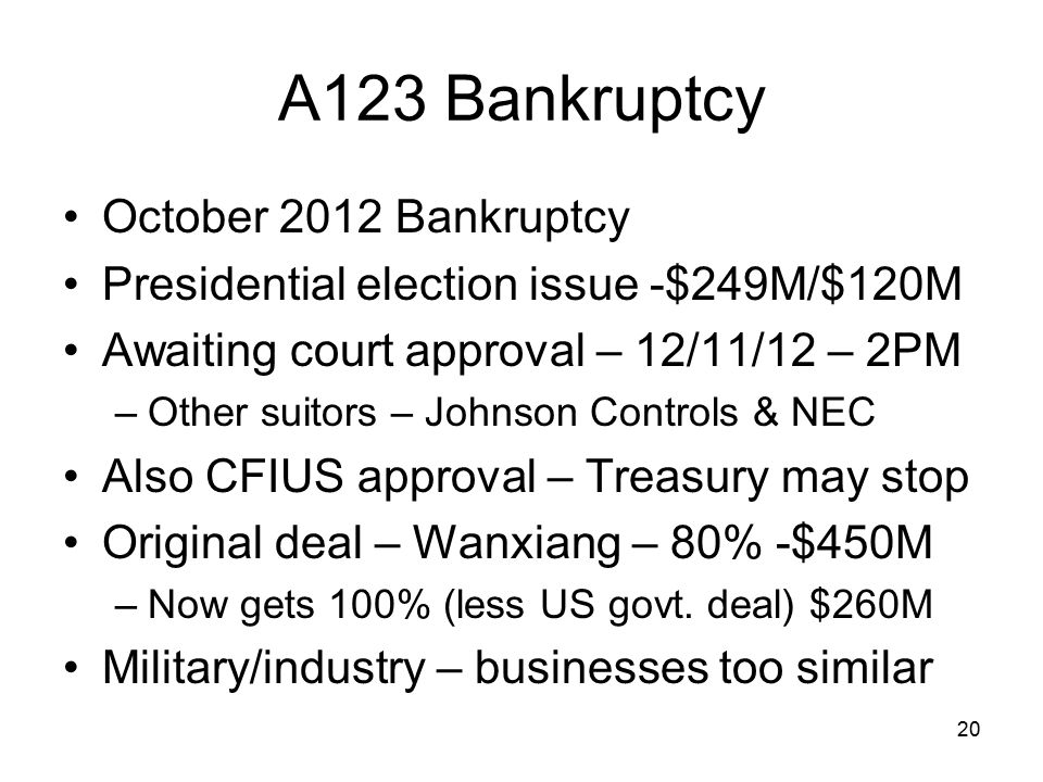 A123 Bankruptcy October 2012 Bankruptcy Presidential election issue -$249M/$120M Awaiting court approval – 12/11/12 – 2PM –Other suitors – Johnson Con