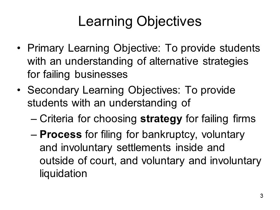 Learning Objectives Primary Learning Objective: To provide students with an understanding of alternative strategies for failing businesses Secondary L