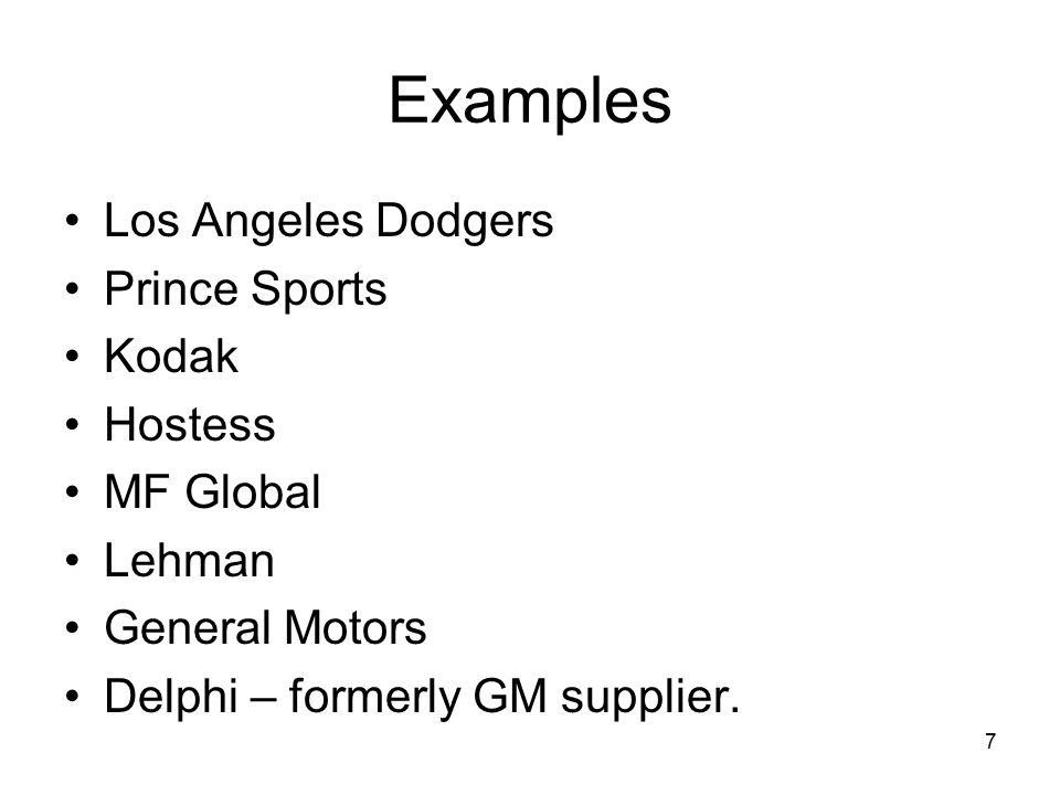 Examples Los Angeles Dodgers Prince Sports Kodak Hostess MF Global Lehman General Motors Delphi – formerly GM supplier. 7