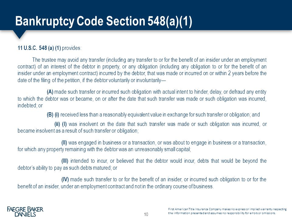 Bankruptcy Code Section 548(a)(1) 11 U.S.C.