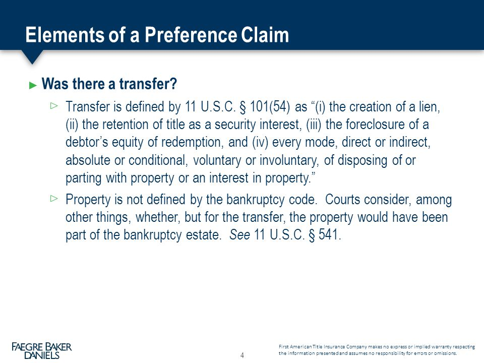Elements of a Preference Claim ► Was there a transfer.