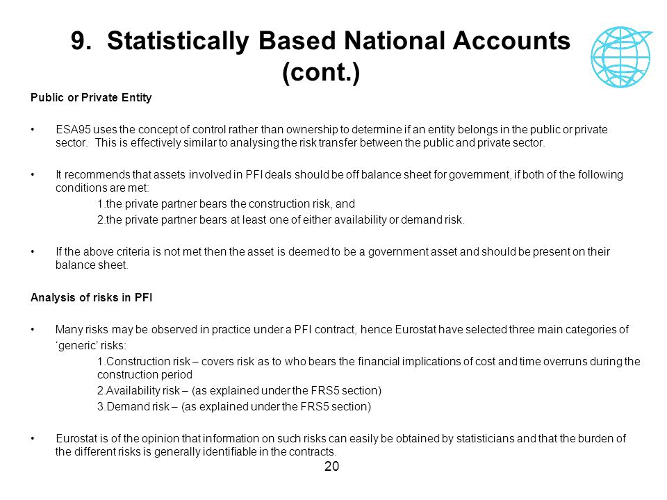 20 9. Statistically Based National Accounts (cont.) Public or Private Entity ESA95 uses the concept of control rather than ownership to determine if a