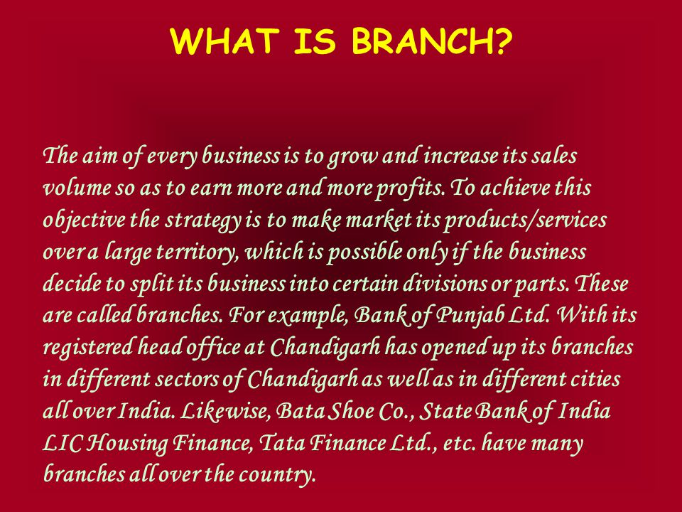 TYPES OF BRANCHES HOME BRANCHES FOREIGN BRANCHES DEPENDENT BRANCHES INDEPENDENT BRANCHES