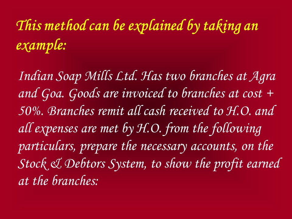 This method can be explained by taking an example: Indian Soap Mills Ltd.