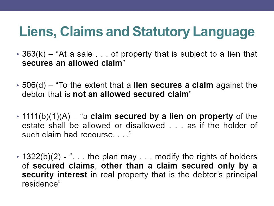 Liens, Claims and Statutory Language 363(k) – At a sale...