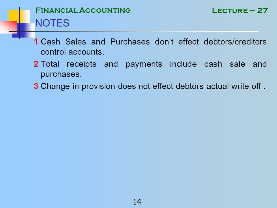 Financial Accounting 13 Lecture – 27 Example 3 NOTE Bad debts written off 800 Increase in prov.