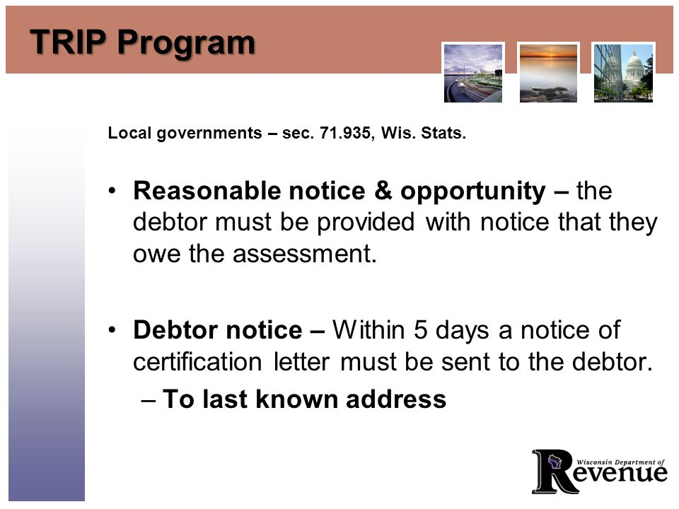 TRIP Program Local governments – sec. 71.935, Wis.