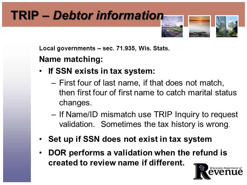 TRIP – Debtor information Local governments – sec.