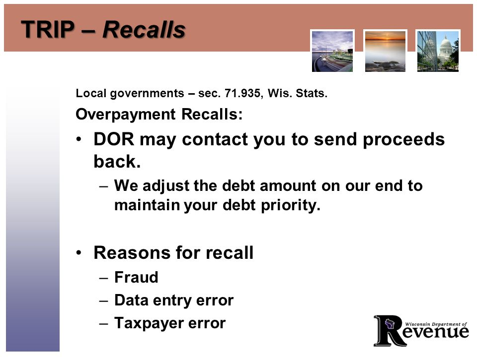TRIP – Recalls Local governments – sec. 71.935, Wis.