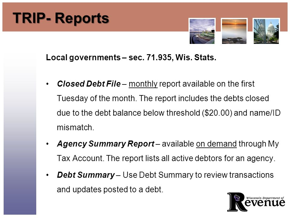 TRIP- Reports Local governments – sec. 71.935, Wis.