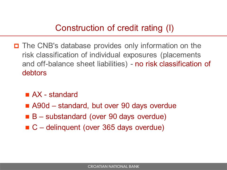 Construction of credit rating (II)  The procedure for classifying debtors into distinct risk categories is based on solving a simple optimization problem derived from the risk classification of their total debt to the banking system as a whole