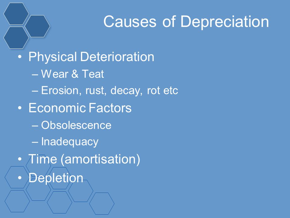 Causes of Depreciation Physical Deterioration –Wear & Teat –Erosion, rust, decay, rot etc Economic Factors –Obsolescence –Inadequacy Time (amortisatio