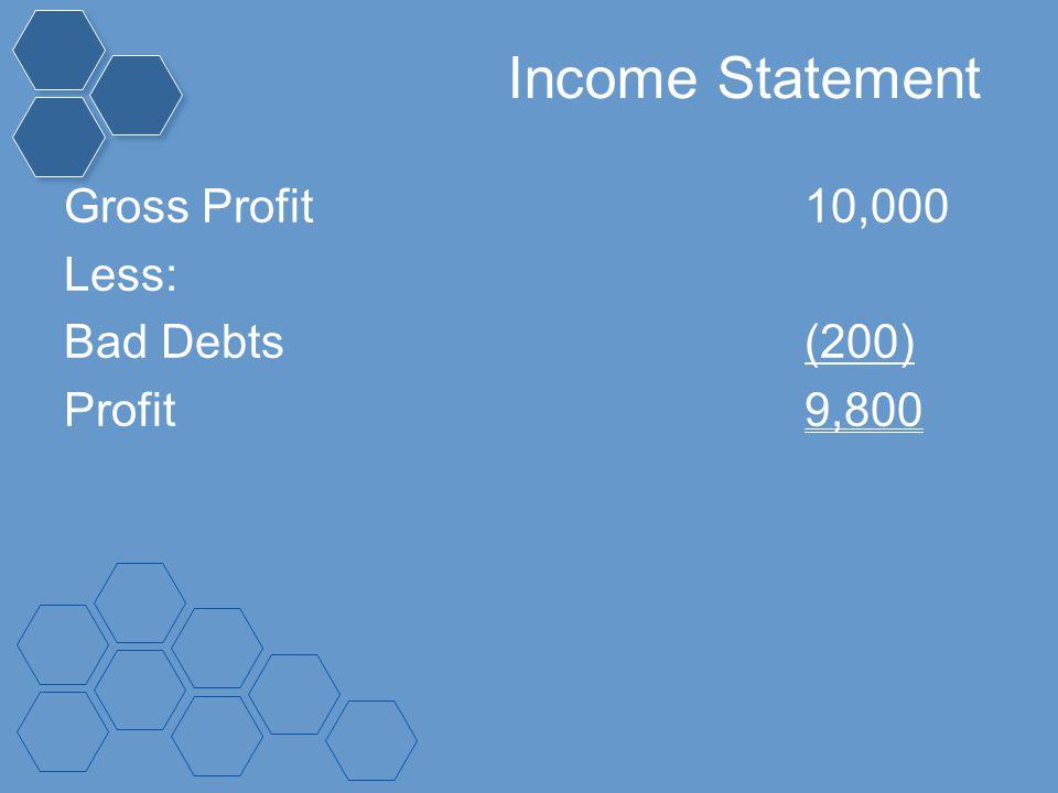 Income Statement Gross Profit10,000 Less: Bad Debts(200) Profit9,800